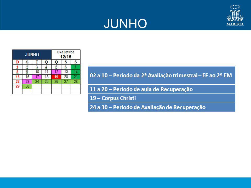 JUNHO 02 a 10 – Período da 2ª Avaliação trimestral – EF ao 2º EM