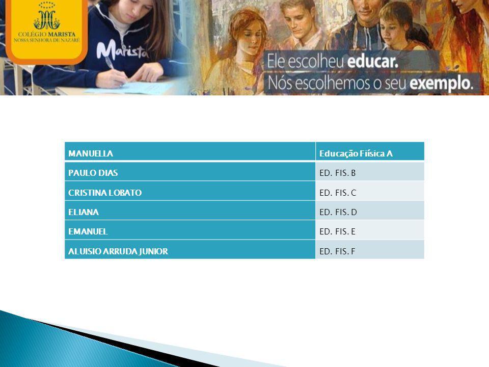 MANUELLA Educação Fiísica A. PAULO DIAS. ED. FIS. B. CRISTINA LOBATO. ED. FIS. C. ELIANA. ED. FIS. D.