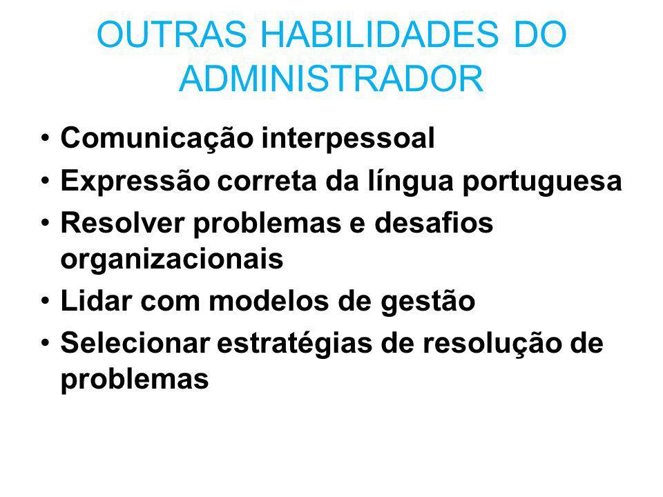 OUTRAS HABILIDADES DO ADMINISTRADOR