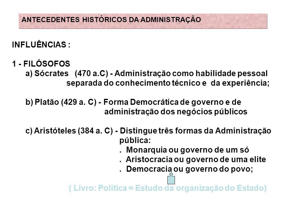 a) Sócrates (470 a.C) - Administração como habilidade pessoal