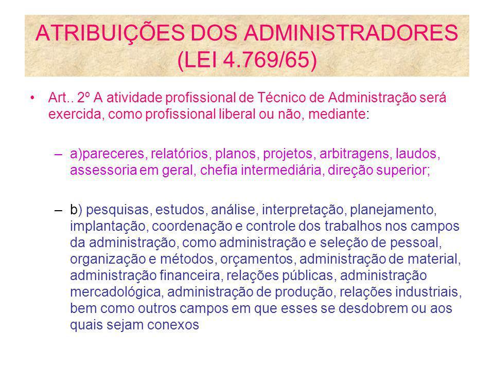 ATRIBUIÇÕES DOS ADMINISTRADORES (LEI 4.769/65)