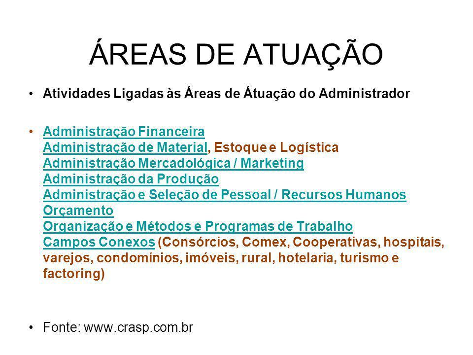 ÁREAS DE ATUAÇÃO Atividades Ligadas às Áreas de Átuação do Administrador.