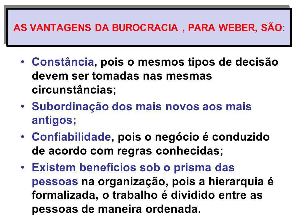 AS VANTAGENS DA BUROCRACIA , PARA WEBER, SÃO: