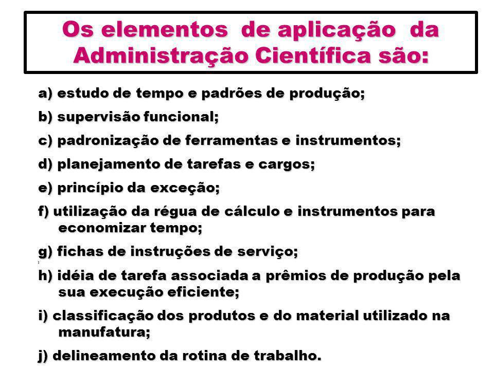 Os elementos de aplicação da Administração Científica são:
