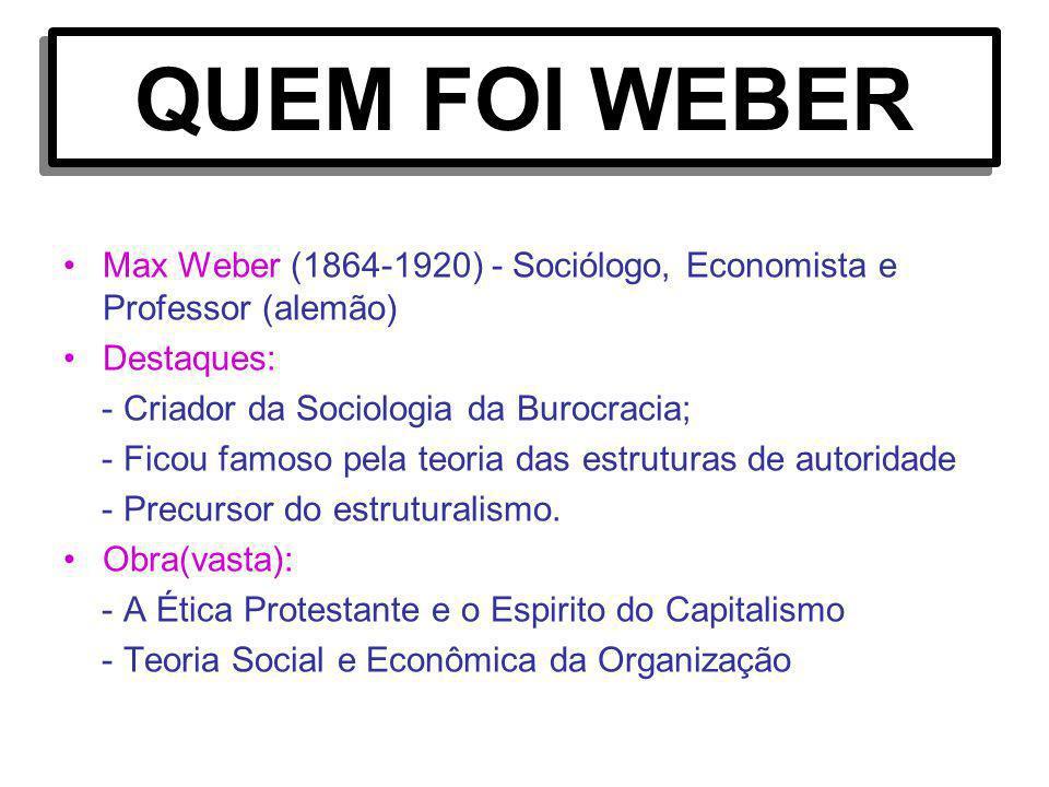 QUEM FOI WEBER Max Weber (1864-1920) - Sociólogo, Economista e Professor (alemão) Destaques: - Criador da Sociologia da Burocracia;