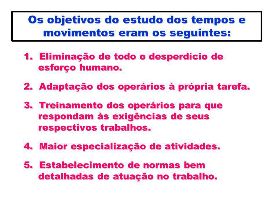 Os objetivos do estudo dos tempos e movimentos eram os seguintes: