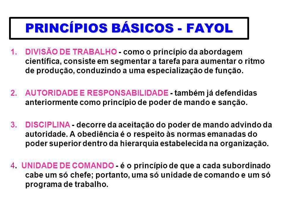 PRINCÍPIOS BÁSICOS - FAYOL