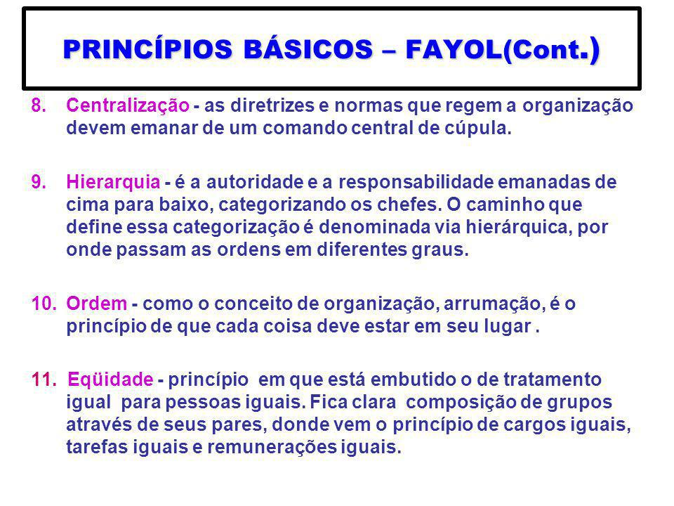 PRINCÍPIOS BÁSICOS – FAYOL(Cont.)