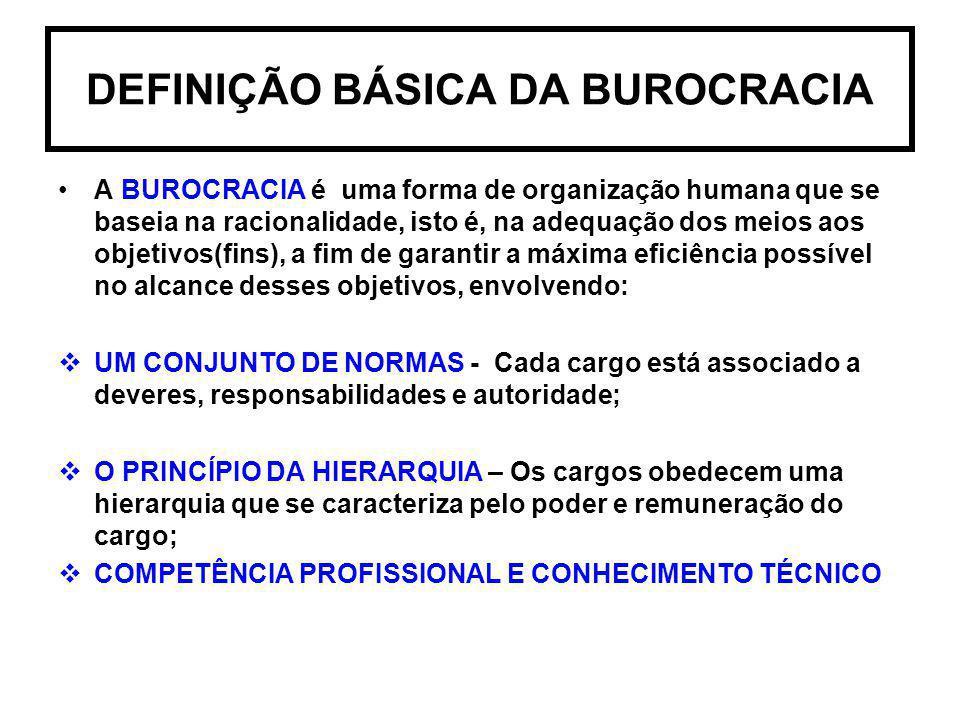 DEFINIÇÃO BÁSICA DA BUROCRACIA