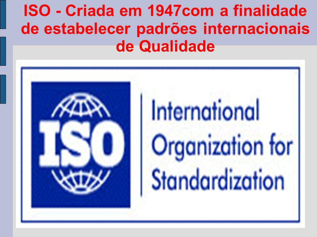 ISO - Criada em 1947com a finalidade de estabelecer padrões internacionais de Qualidade