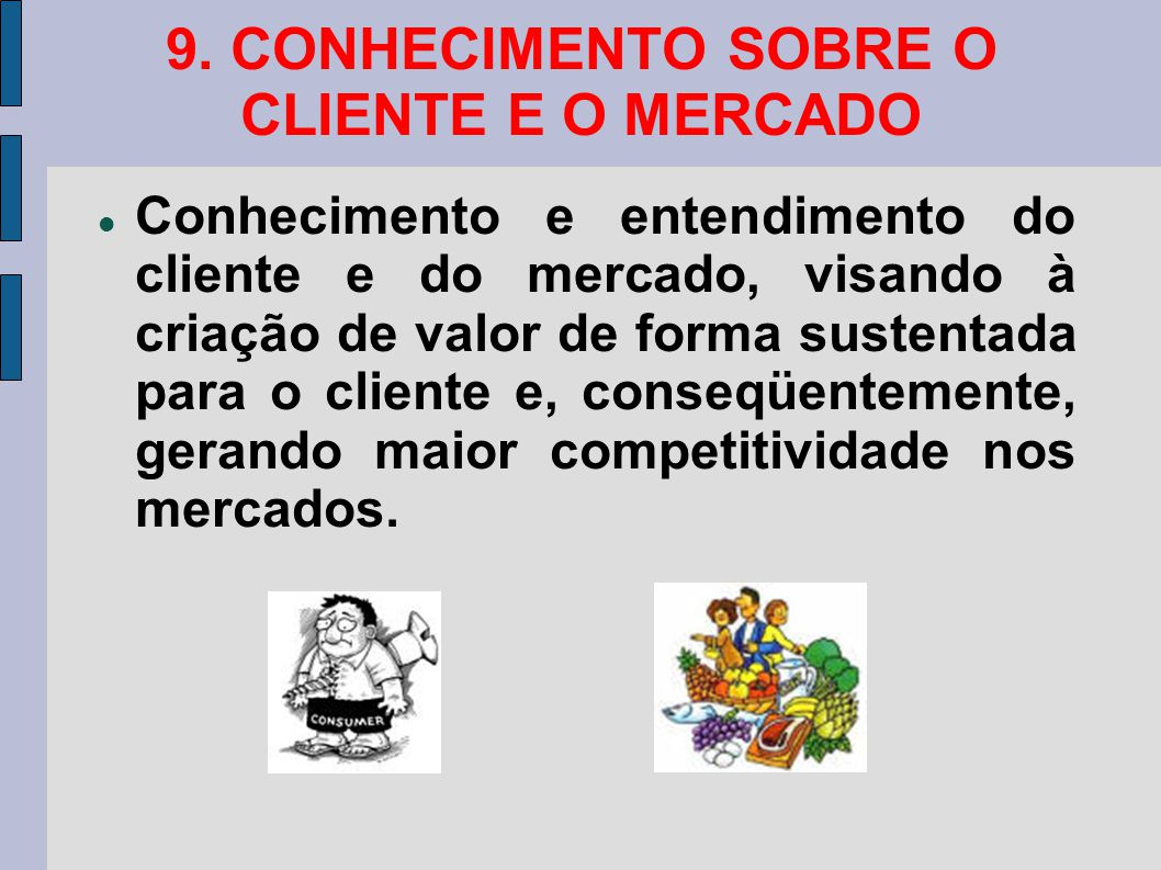 9. CONHECIMENTO SOBRE O CLIENTE E O MERCADO