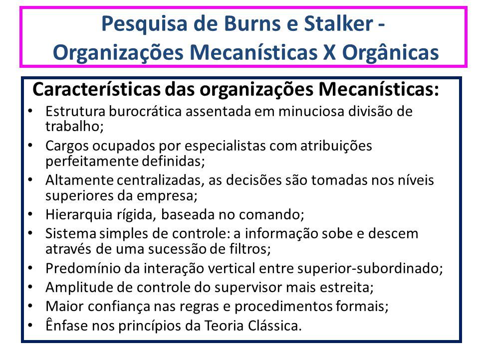 Pesquisa de Burns e Stalker - Organizações Mecanísticas X Orgânicas