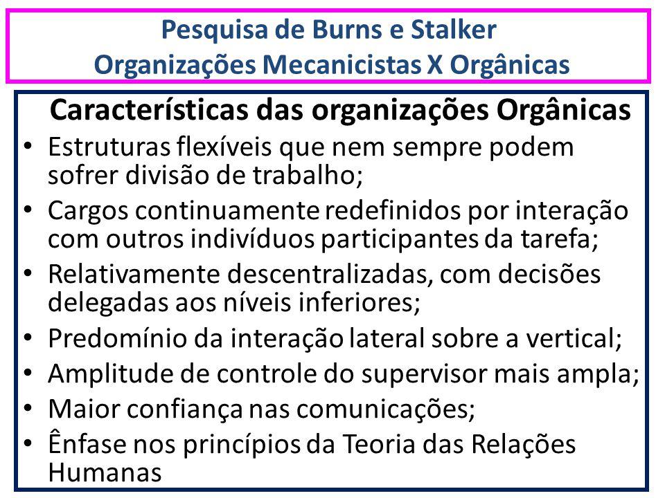 Pesquisa de Burns e Stalker Organizações Mecanicistas X Orgânicas