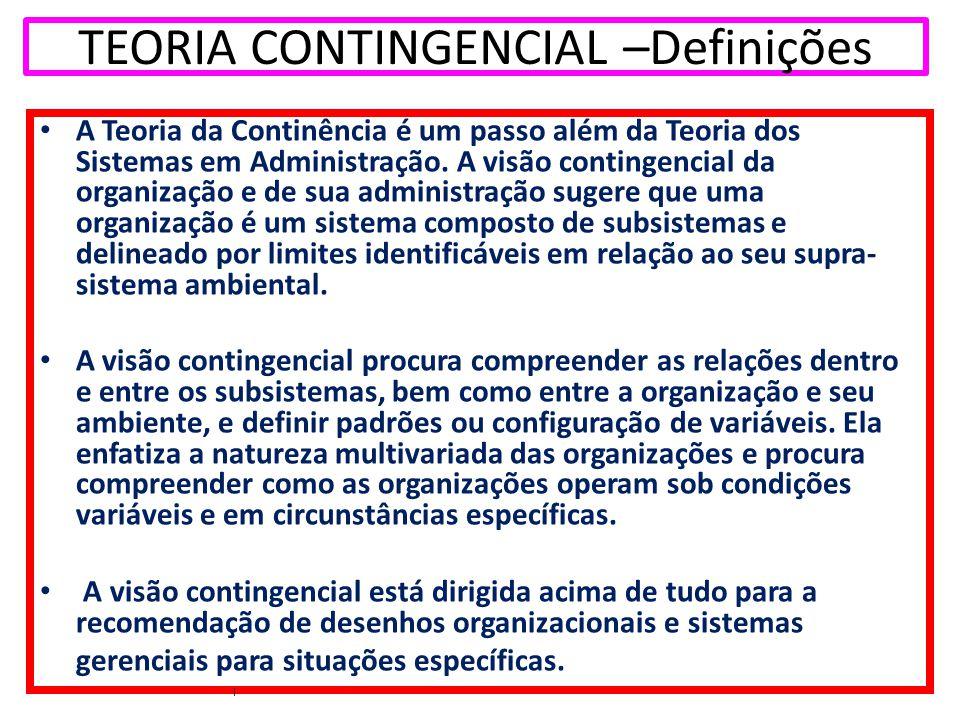 TEORIA CONTINGENCIAL –Definições