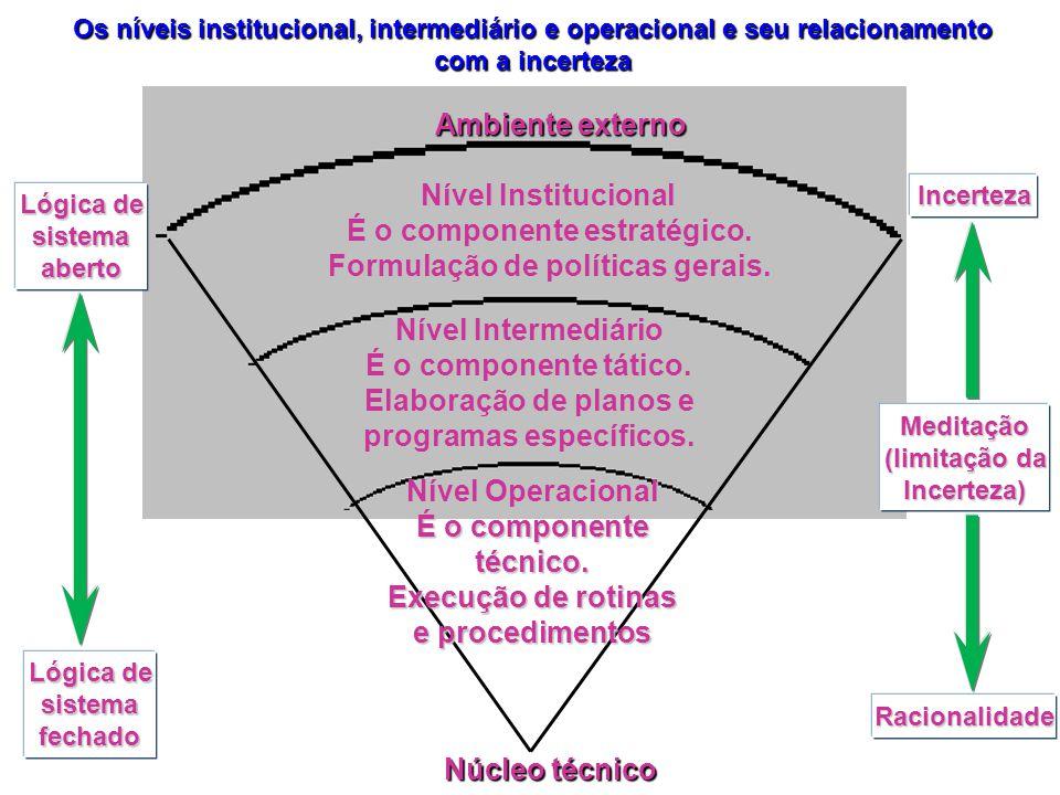 É o componente estratégico. Formulação de políticas gerais.