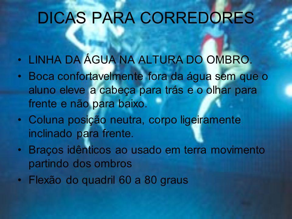 DICAS PARA CORREDORES LINHA DA ÁGUA NA ALTURA DO OMBRO.