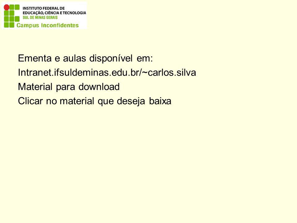 Ementa e aulas disponível em: