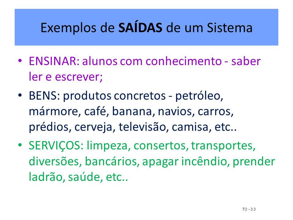 Exemplos de SAÍDAS de um Sistema