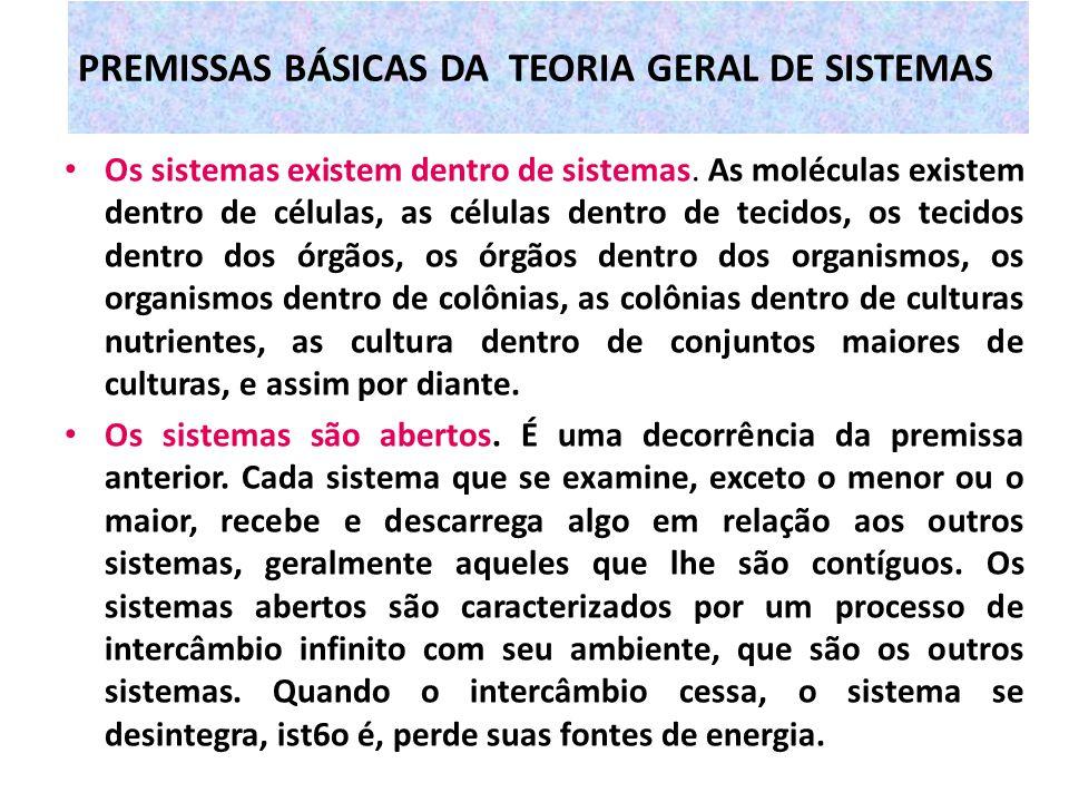 PREMISSAS BÁSICAS DA TEORIA GERAL DE SISTEMAS