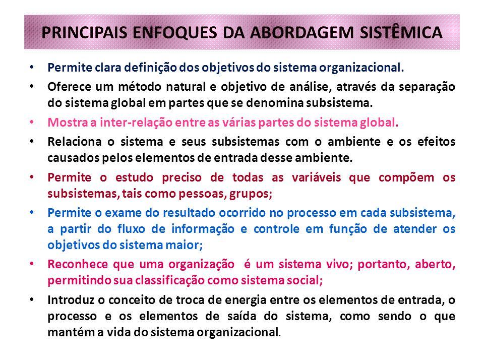PRINCIPAIS ENFOQUES DA ABORDAGEM SISTÊMICA
