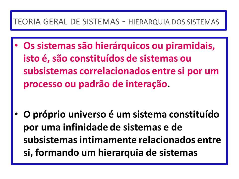 TEORIA GERAL DE SISTEMAS - HIERARQUIA DOS SISTEMAS
