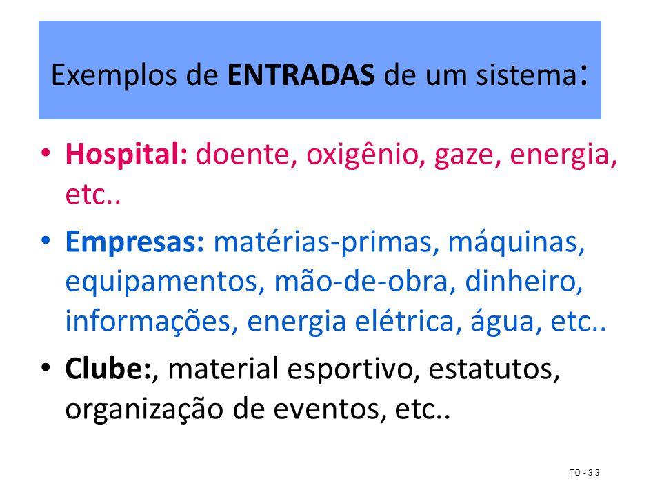 Exemplos de ENTRADAS de um sistema:
