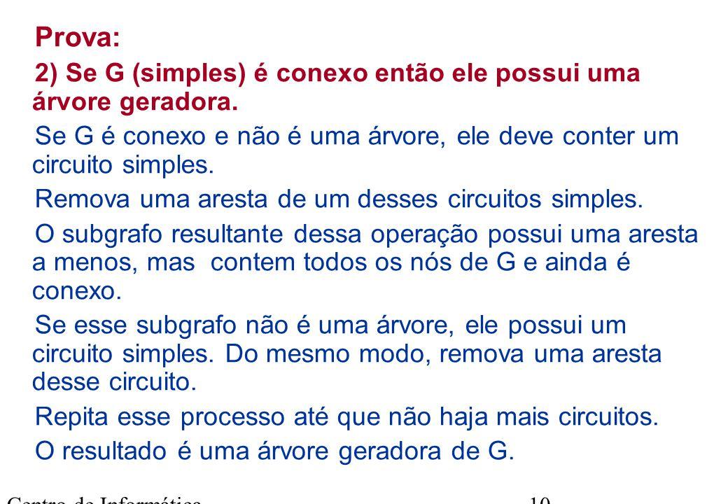 Prova: 2) Se G (simples) é conexo então ele possui uma árvore geradora. Se G é conexo e não é uma árvore, ele deve conter um circuito simples.