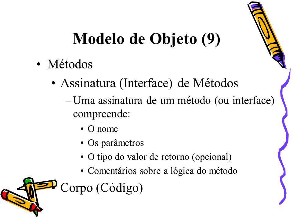 Modelo de Objeto (9) Métodos Assinatura (Interface) de Métodos
