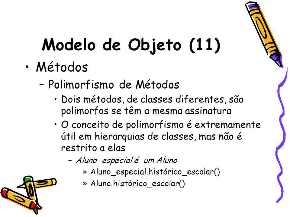 Modelo de Objeto (11) Métodos Polimorfismo de Métodos