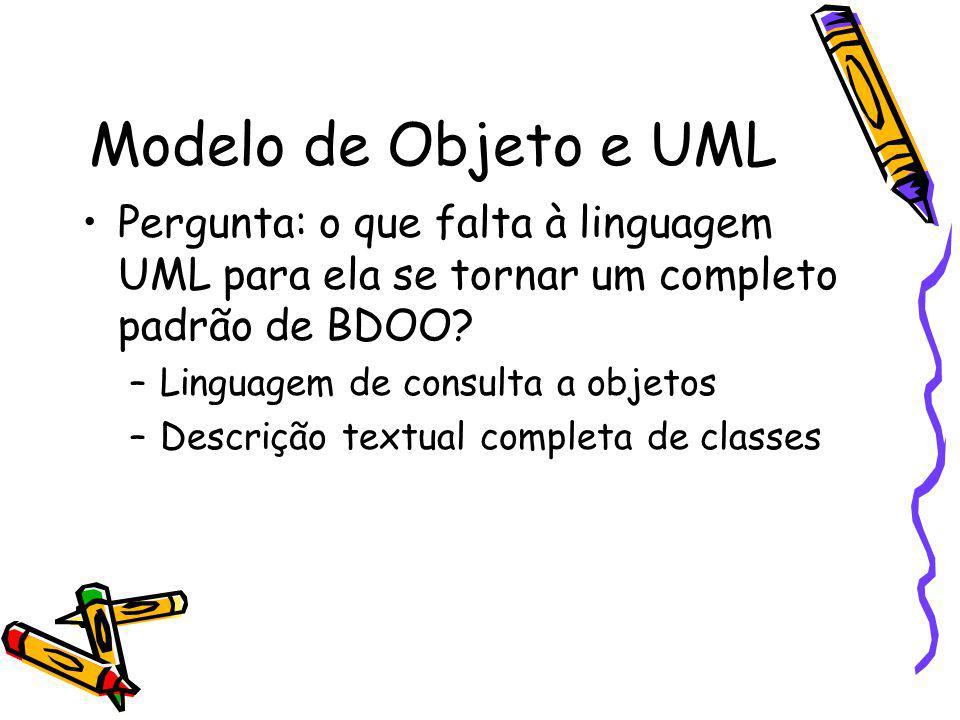 Modelo de Objeto e UML Pergunta: o que falta à linguagem UML para ela se tornar um completo padrão de BDOO