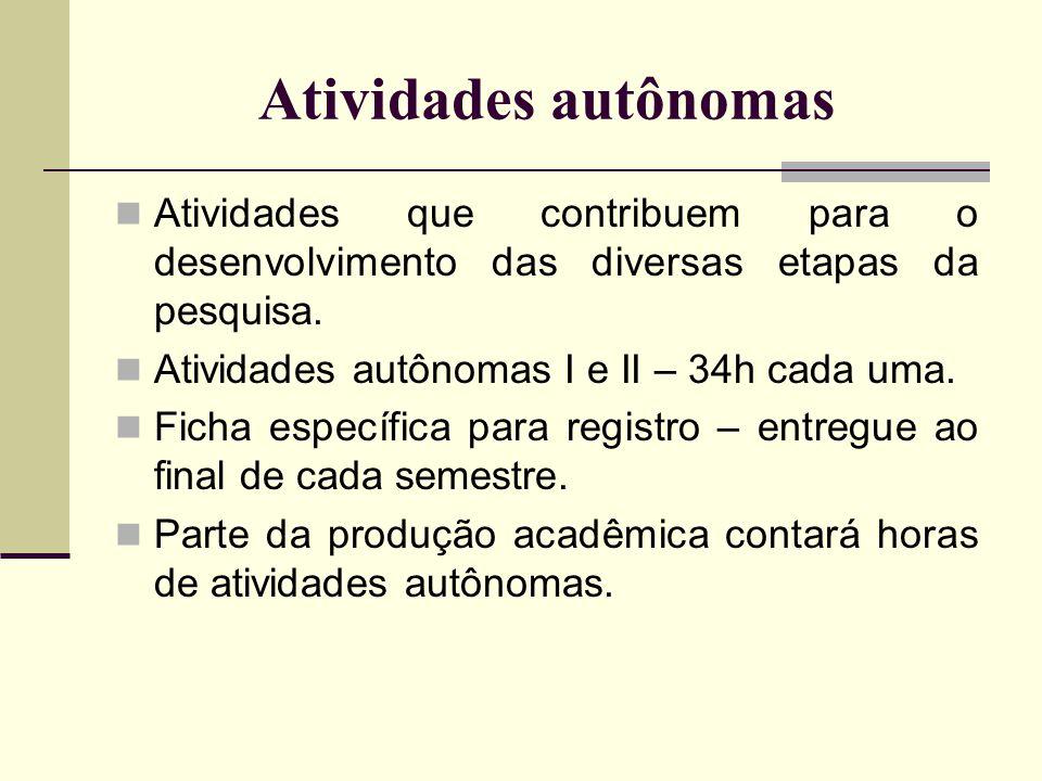 Atividades autônomas Atividades que contribuem para o desenvolvimento das diversas etapas da pesquisa.