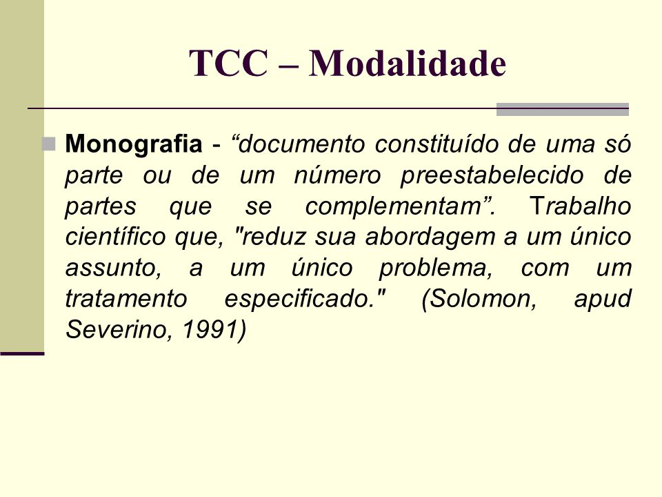 TCC – Modalidade
