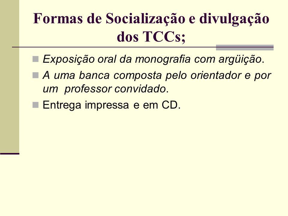 Formas de Socialização e divulgação dos TCCs;