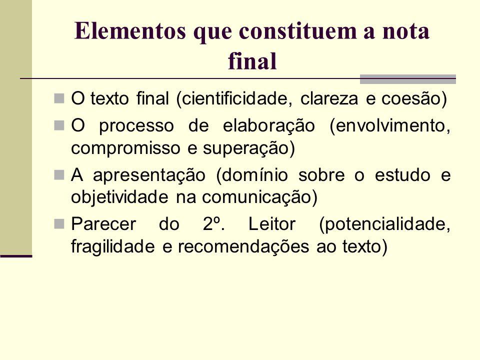 Elementos que constituem a nota final