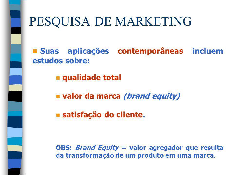 PESQUISA DE MARKETING Suas aplicações contemporâneas incluem estudos sobre: qualidade total. valor da marca (brand equity)