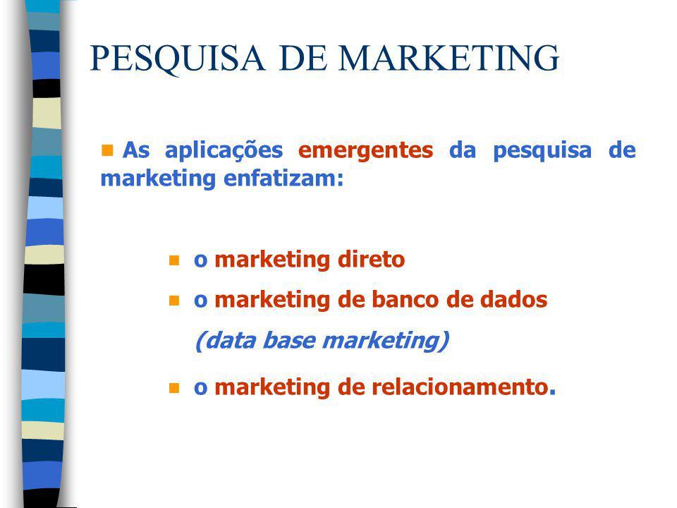 PESQUISA DE MARKETING As aplicações emergentes da pesquisa de marketing enfatizam: o marketing direto.