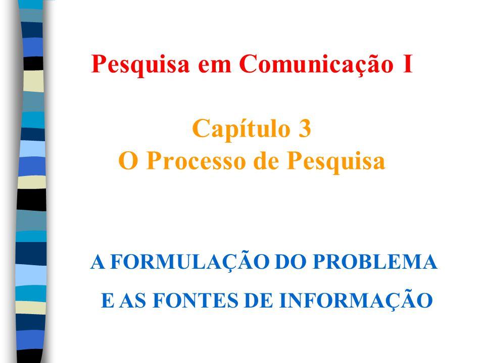 Pesquisa em Comunicação I Capítulo 3 O Processo de Pesquisa