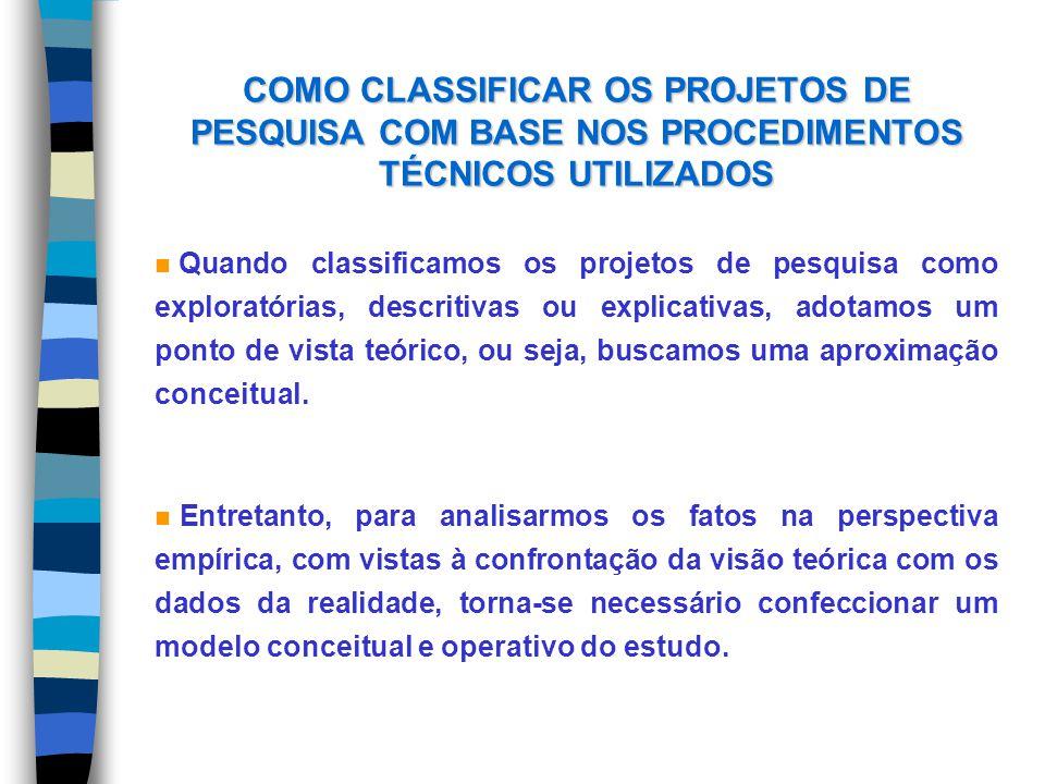 COMO CLASSIFICAR OS PROJETOS DE PESQUISA COM BASE NOS PROCEDIMENTOS TÉCNICOS UTILIZADOS