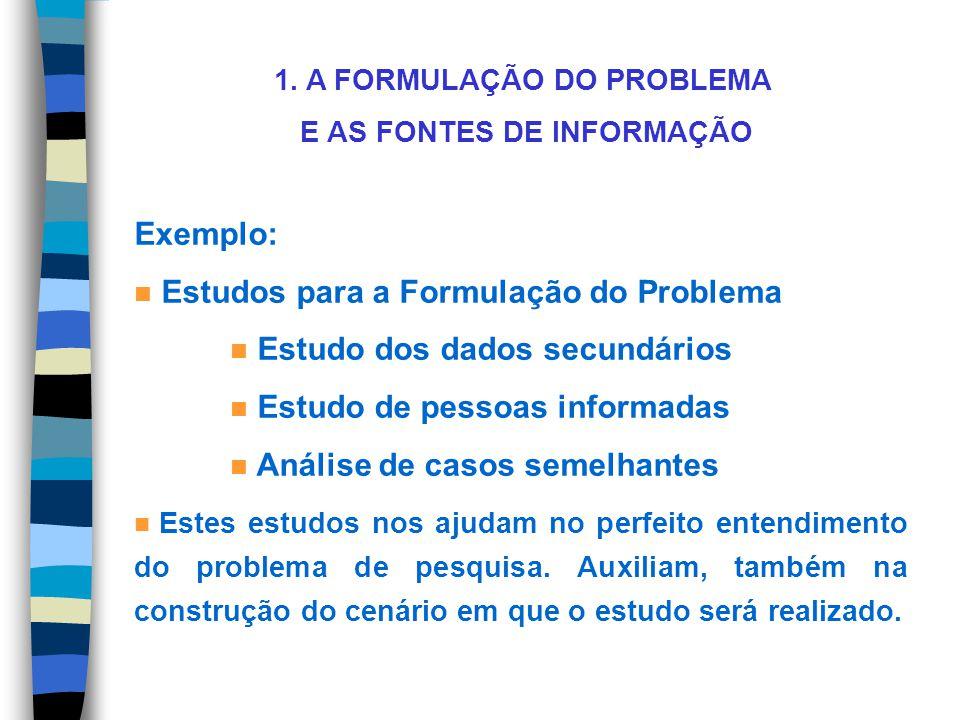 1. A FORMULAÇÃO DO PROBLEMA E AS FONTES DE INFORMAÇÃO