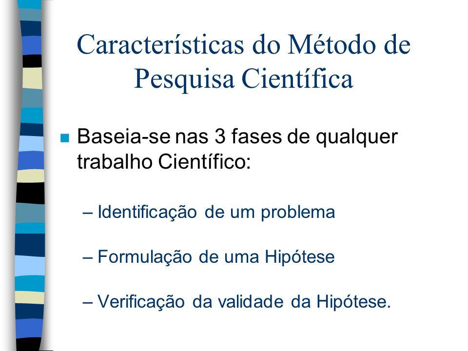 Características do Método de Pesquisa Científica