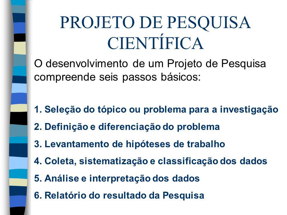 PROJETO DE PESQUISA CIENTÍFICA