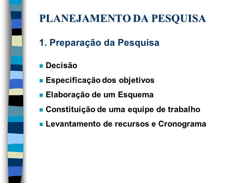 PLANEJAMENTO DA PESQUISA
