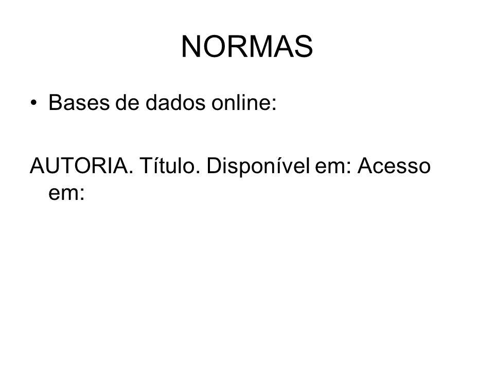 NORMAS Bases de dados online: