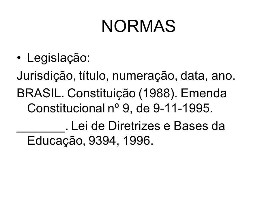 NORMAS Legislação: Jurisdição, título, numeração, data, ano.