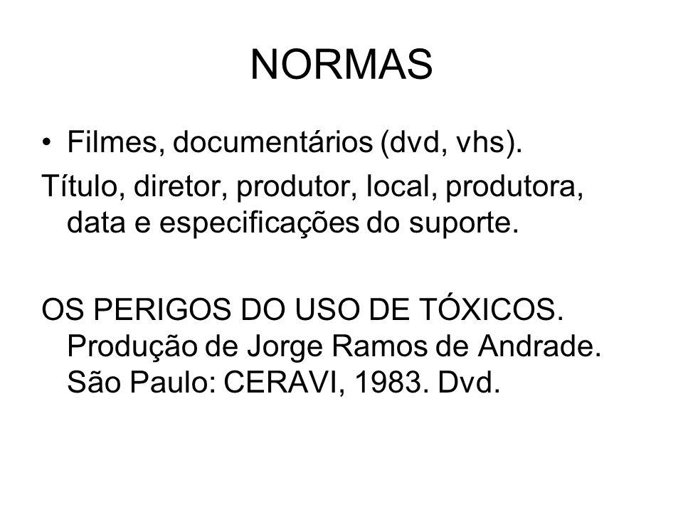NORMAS Filmes, documentários (dvd, vhs).