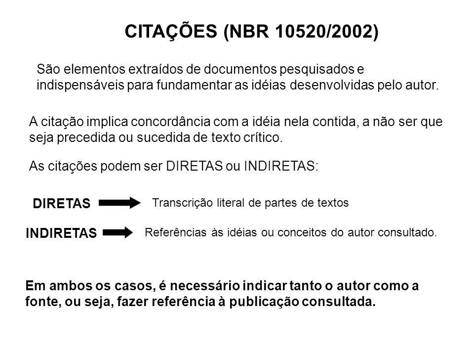 CITAÇÕES (NBR 10520/2002) São elementos extraídos de documentos pesquisados e indispensáveis para fundamentar as idéias desenvolvidas pelo autor.