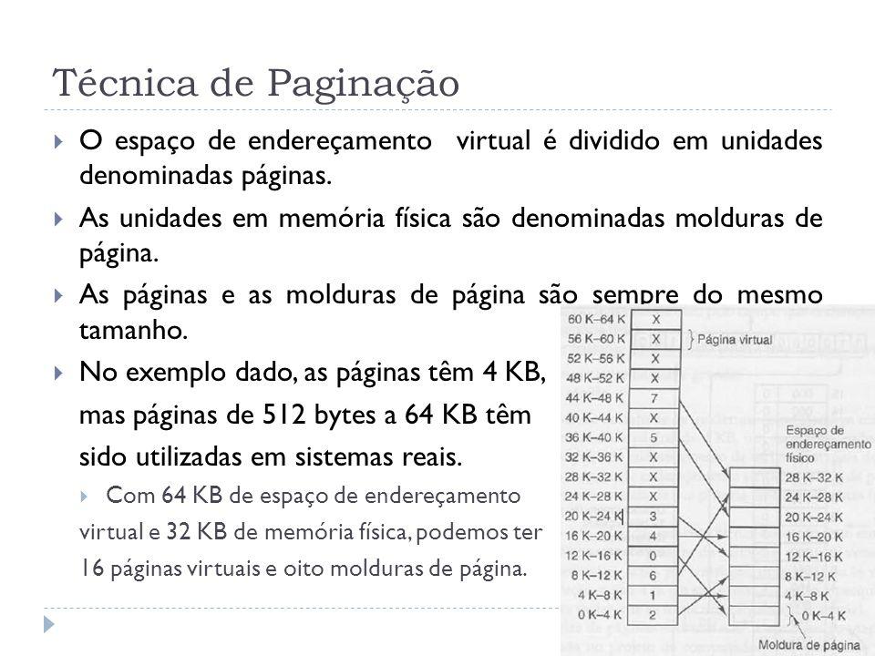 Técnica de Paginação O espaço de endereçamento virtual é dividido em unidades denominadas páginas.
