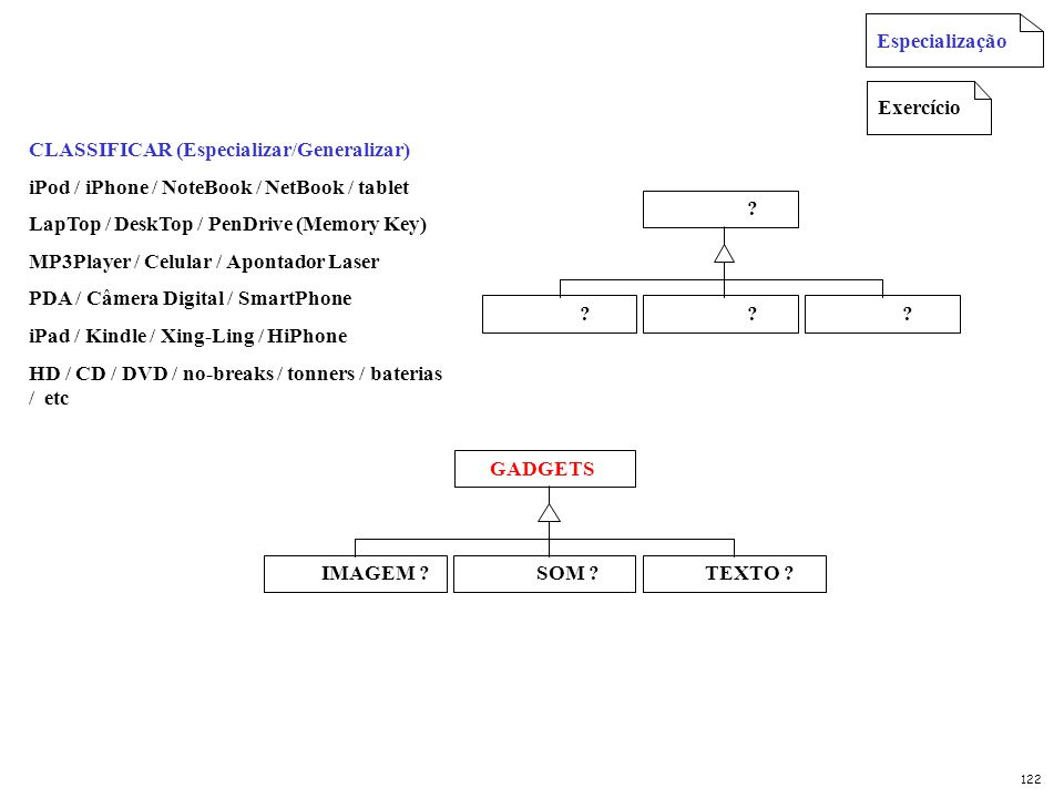 CLASSIFICAR (Especializar/Generalizar)