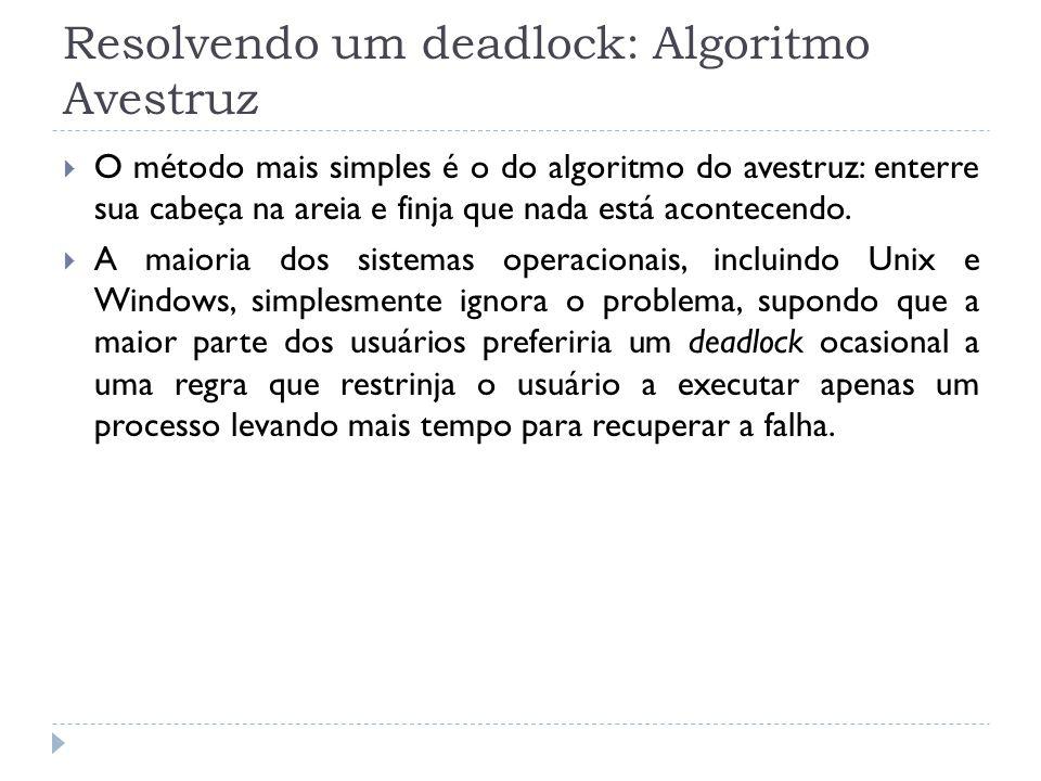 Resolvendo um deadlock: Algoritmo Avestruz