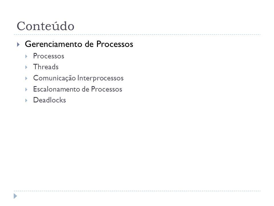 Conteúdo Gerenciamento de Processos Processos Threads